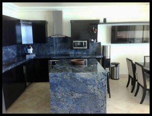 Blue Bahia Waterfall Kitchen